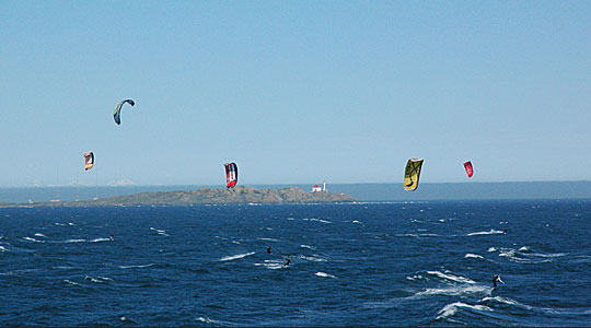 Kite boarders along Dallas Road